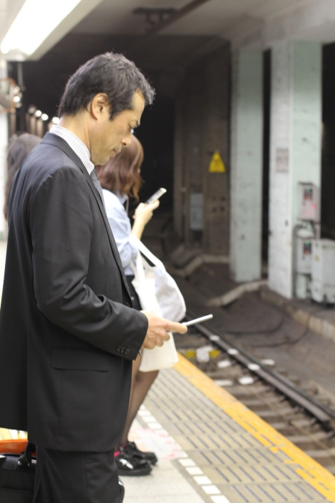 Typical commute on the morning train in Tokyo.