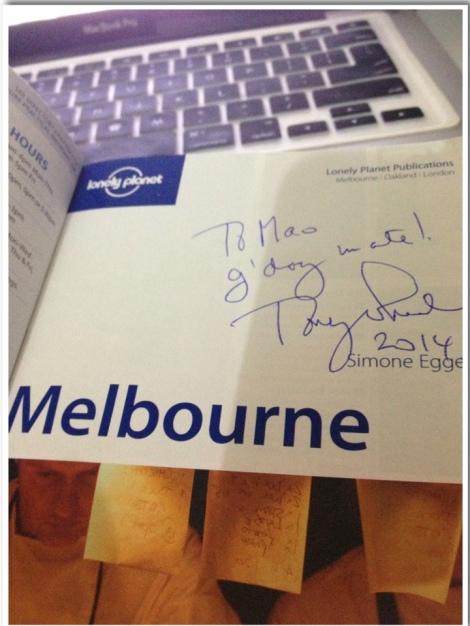 The only person able to travel the World and TIME! Tony Wheeler signed my book in 2014?
